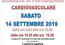14 settembre 2019 Giornata di prevenzione Cardiovascolare
